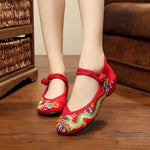 Hidden Elevator Heel Round Toe Buckle Embroidery Casual Low-Cut Upper Thin Shoes