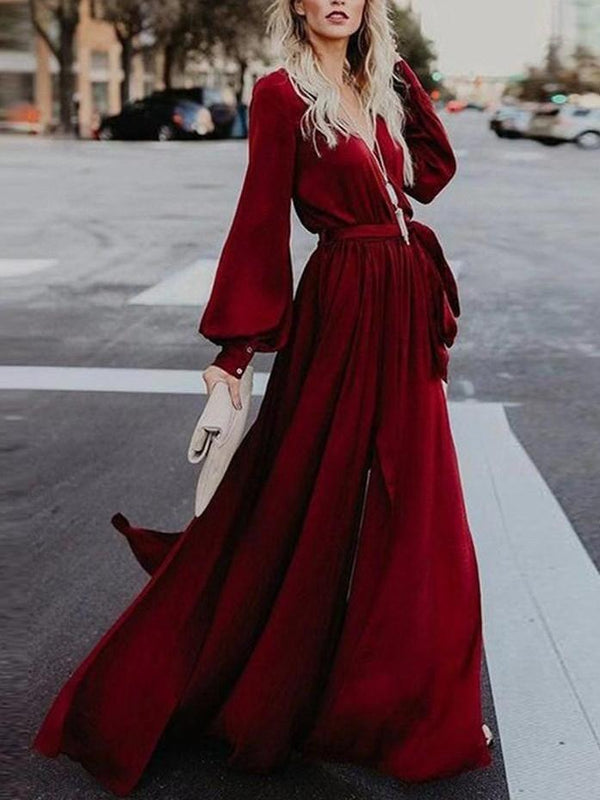 V-Neck Floor-Length Long Sleeve Travel Boho Dresses