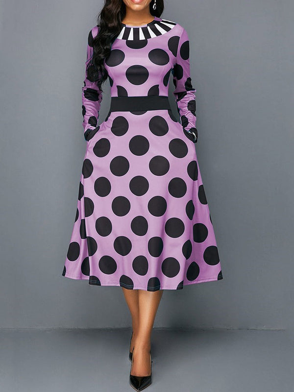 Round Neck Mid-Calf Long Sleeve Polka Dots A-Line Dress