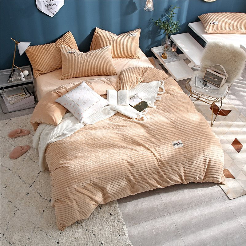 Camicetta stile Wavel Princess Camel 4-Piece Fluffy Bedding Sets / Copripiumini