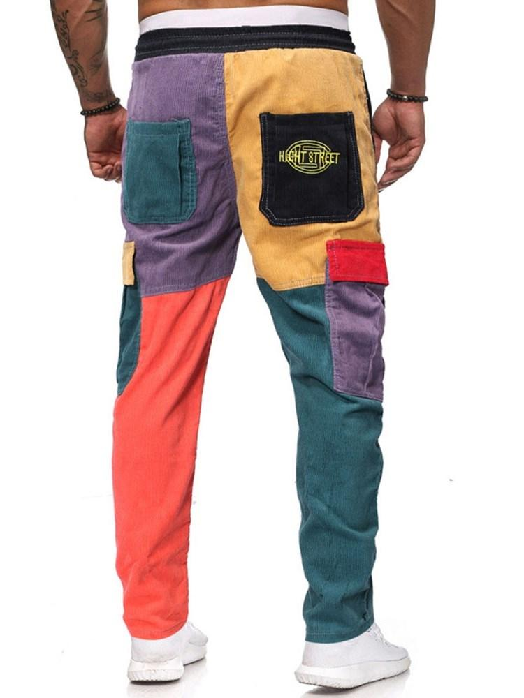 Pantaloni casual casual a vita media a fascia color block