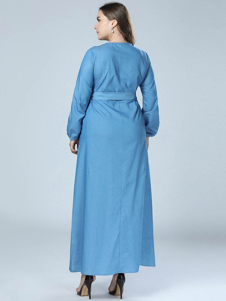 Ankle-Length Round Neck Button A-Line Lantern Sleeve Dresses