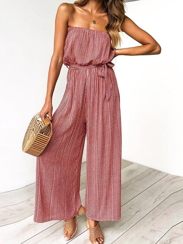 Casual Lace-Up Stripe Loose Wide Legs Jumpsuit