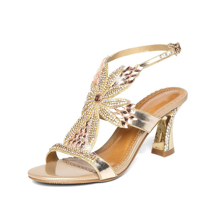 Buckle Strappy Chunky Heel Open Toe Plain Rhinestone Sandals