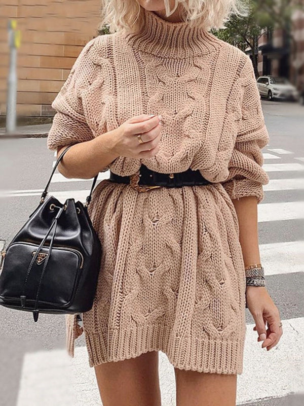 Turtleneck Long Sleeve Above Knee Plain Spring Dress