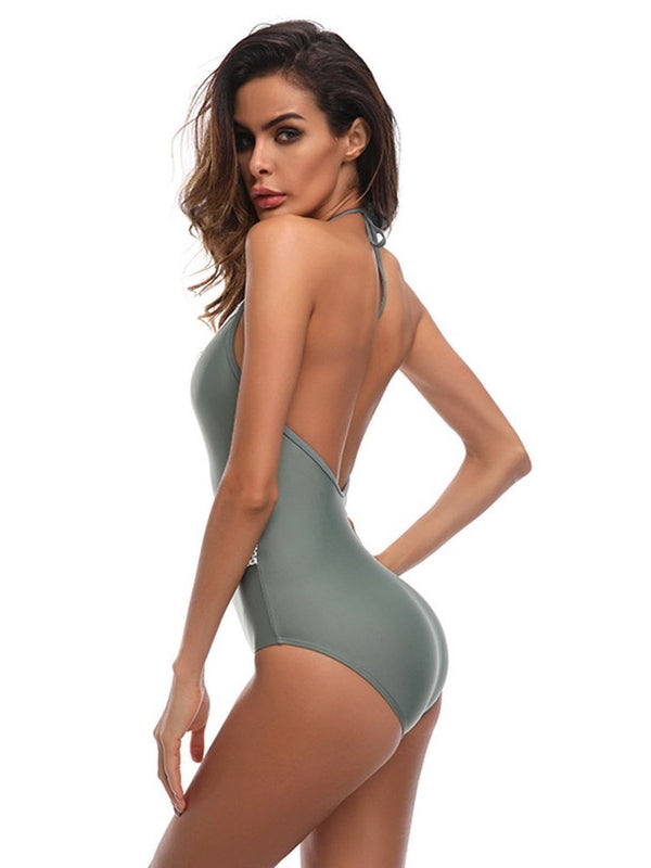 Color Block Lace-Up One Piece Swimwear