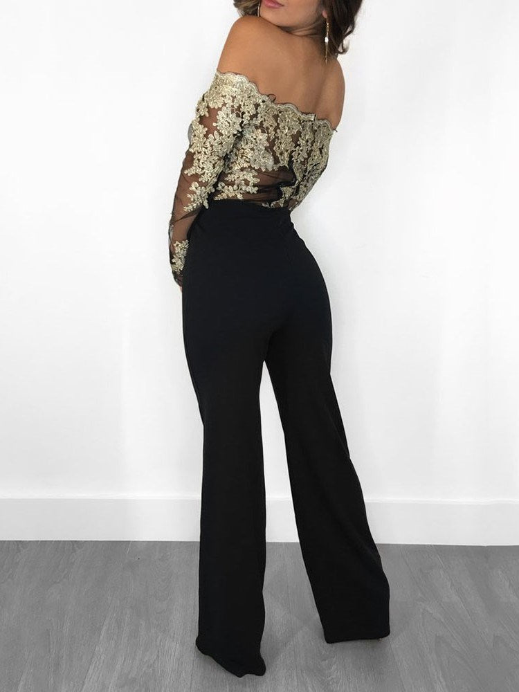 Long Sleeves Lace Top Patchwork Slim Fit Women's Jumpsuits
