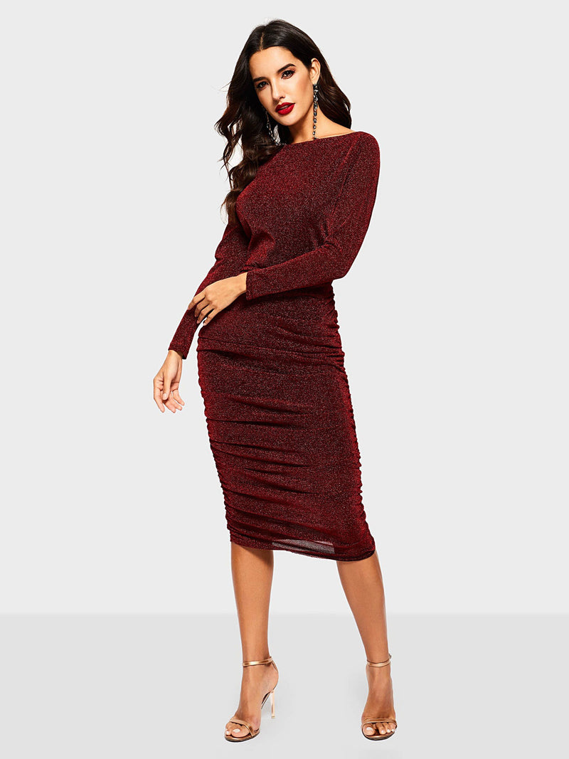 Long Sleeve Mid-Calf High Waist Bodycon Dress