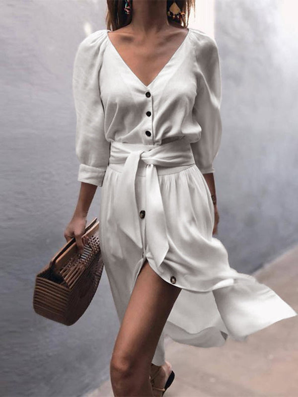 Fashion V Neck Straight Casual Dress with Belt