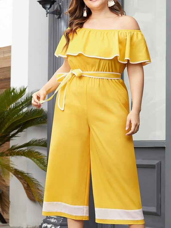 Mid-Calf Western Color Block Wide Legs Loose Jumpsuit