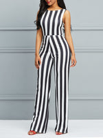 Sexy Stripe Full Length Skinny Mid Waist Jumpsuit