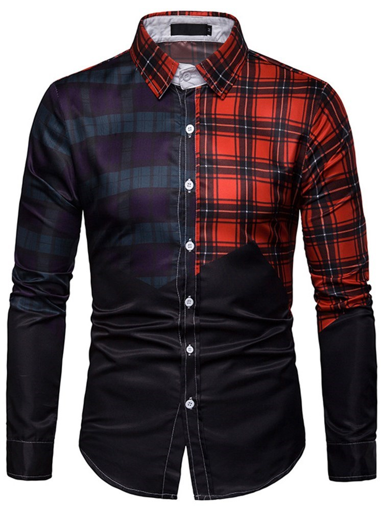 Color Block Print Lapel Slim Single-Breasted Shirt