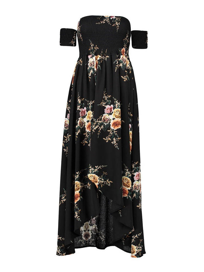 Ankle-Length Short Sleeve Split Floral Summer Dresses