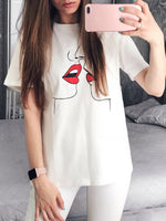 Round Neck Short Sleeve Standard Summer Casual T-Shirt