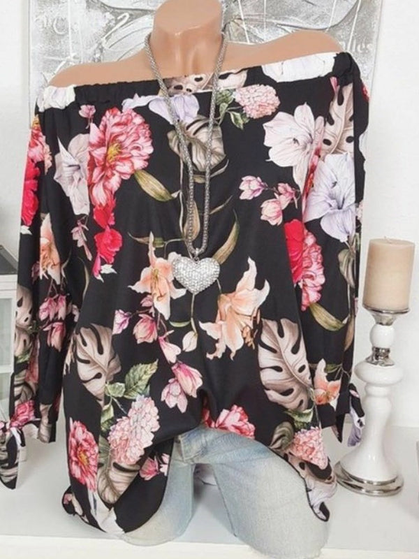 Print Off Shoulder Floral Mid-Length Long Sleeve Blouse