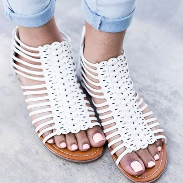 Zipper Open Toe Flat With Heel Covering Plain Mid-Cut Upper Sandals