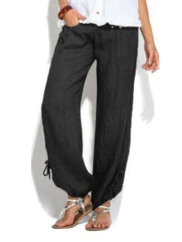 Loose Plain Button Low Waist Full Length Casual Pants