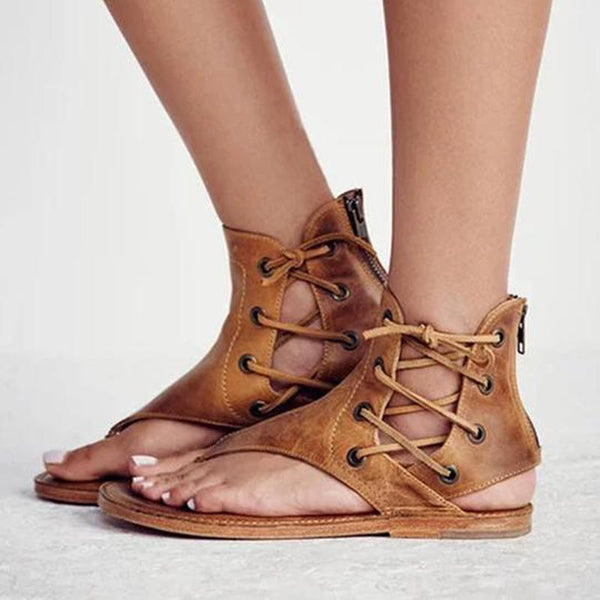 Thong Lace-Up Flat With Casual Plain Sandals
