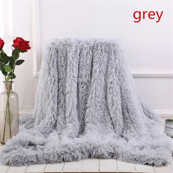 2018 New 13 Colors Super Soft Blankets for Beds Shaggy Faux Fur Blanket Bedding Christmas Gift