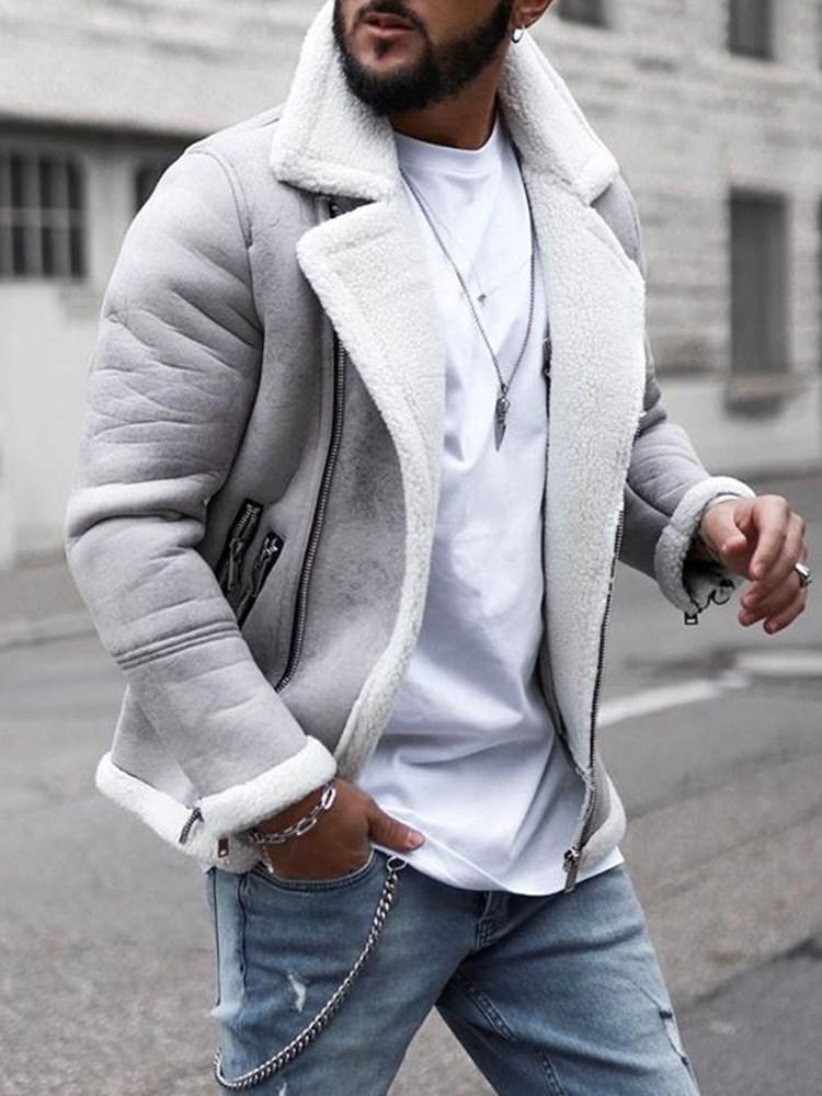 Zipper Lapel Slim Casual Jacket