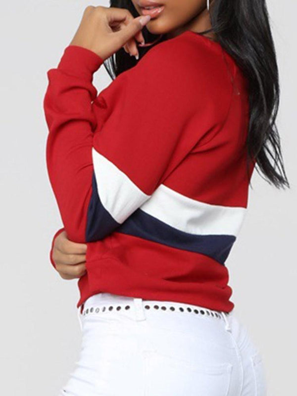 Sudadera con capucha de cuello redondo color block regular spring