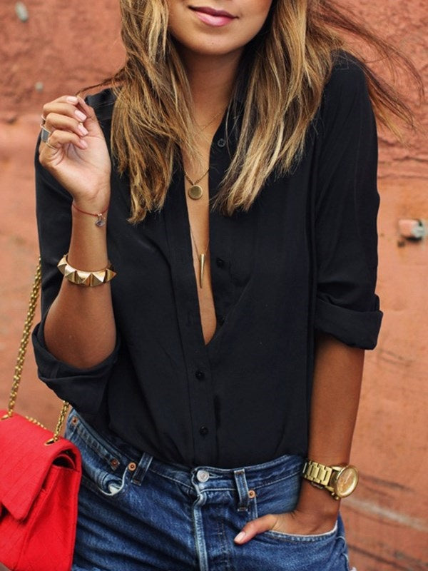 White Plain V-Neck Mid-Length Long Sleeve Blouse