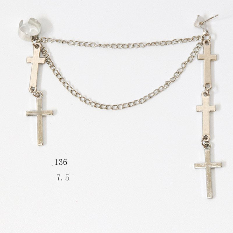 European Alloy Cross Birthday Earrings