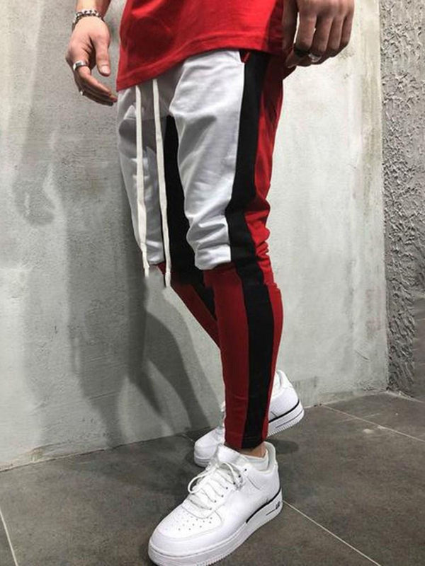 Patchwork Straight Color Block Fall Casual Casual Pantalones