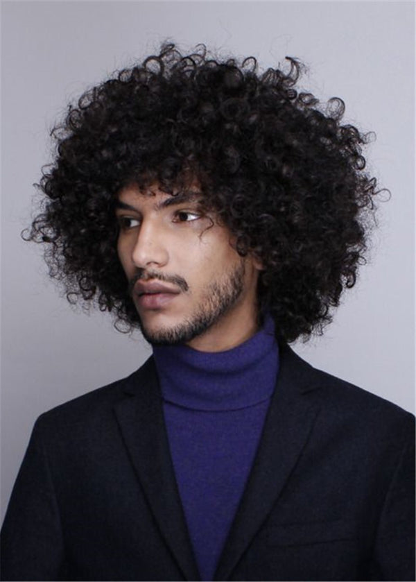 Kinky Curly Men Synthetic Hair Capless 120% Wigs