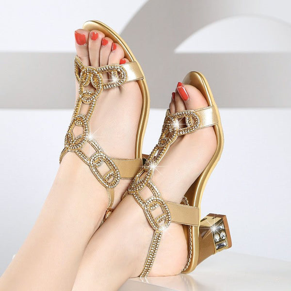 Strappy Chunky Heel Open Toe Buckle Rhinestone Casual Sandals
