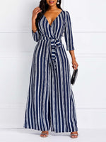 Lace-Up Stripe Casual High Waist Wide Legs Jumpsuit