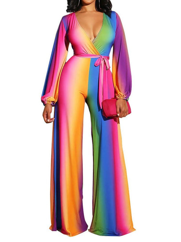 Full Length Pleated Gradient Loose Straight Jumpsuit