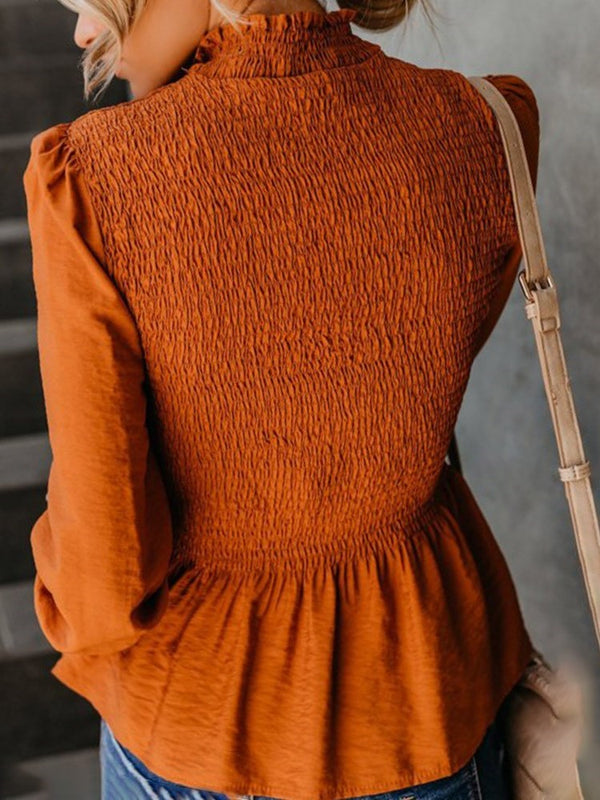 Lantern Sleeve Pleated Turtleneck Long Sleeve Standard Blouse