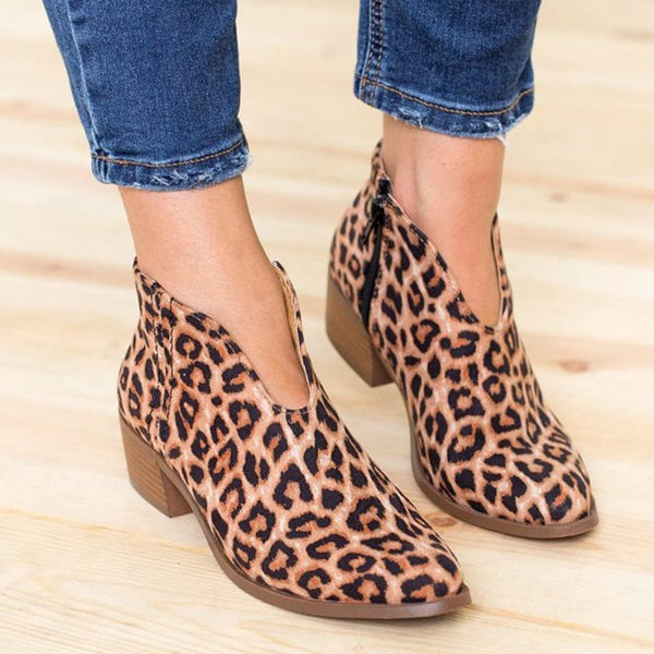 Pointed Toe Leopard Block Heel Side Zipper Casual Thread Boots