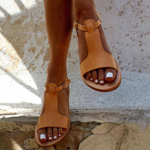 Open Toe Strappy Buckle Block Heel Low-Cut Sandali casual alti