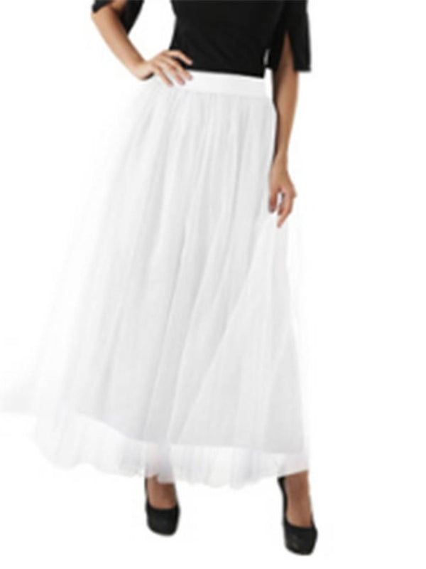 A-Line Ankle-Length Mesh Casual High Waist Skirt