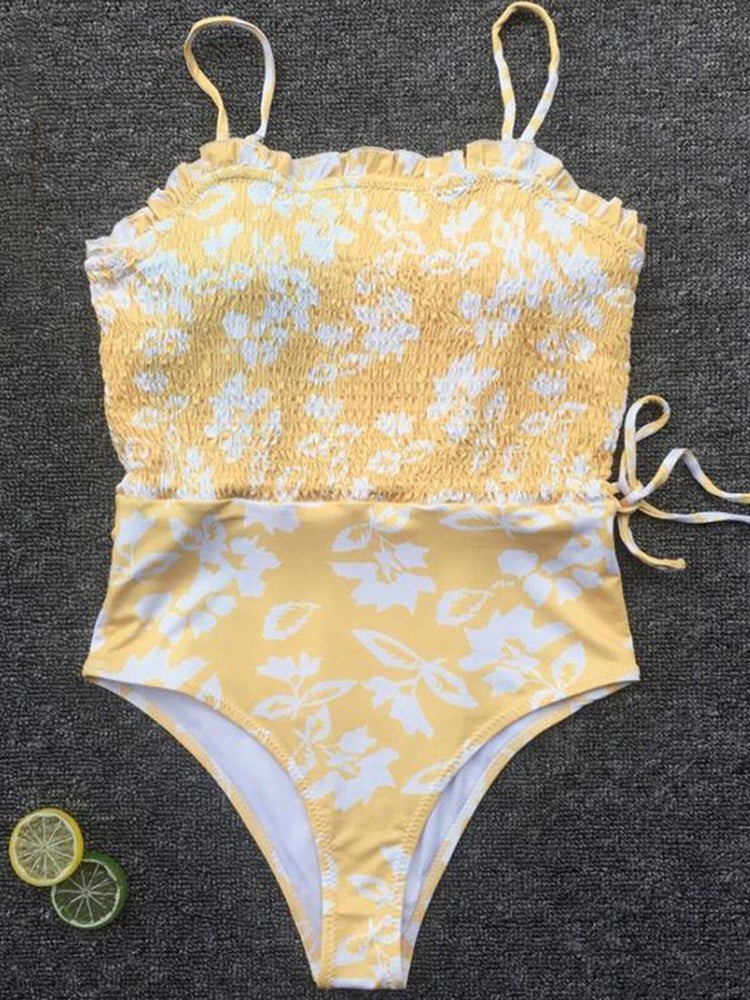 Floral One Piece Lace-Up Swimwear