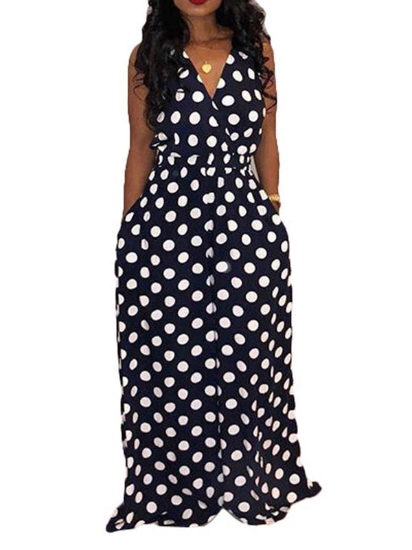 Polka Dots Full Length Print Loose Jumpsuit