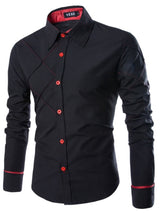 Color Block Pleated Lapel Fall Slim Shirt