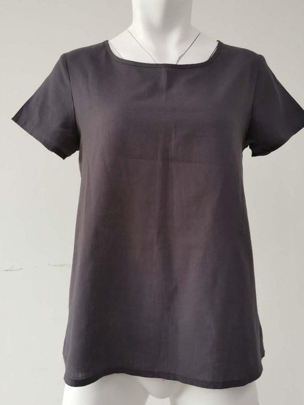 Round Neck Standard Short Sleeve Casual Loose T-Shirt