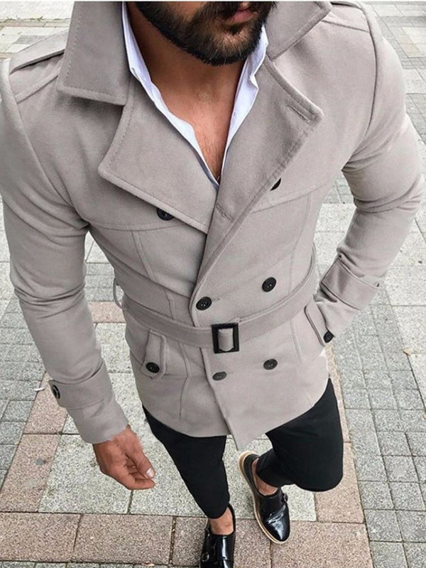 Mid-Length Plain Notched Lapel Fall European Trench Coat