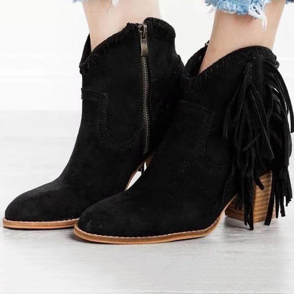 Pointed Toe Plain Side Zipper Chunky Heel Casual Western Boots