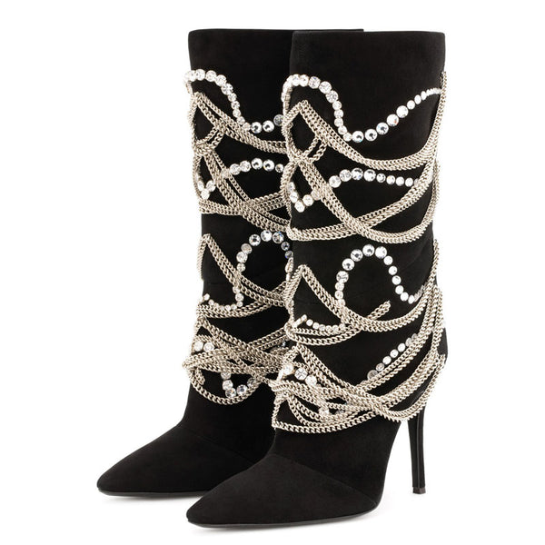 Mid Calf Boots Back Zip Pointed Toe Chain 10cm Stiletto Heels