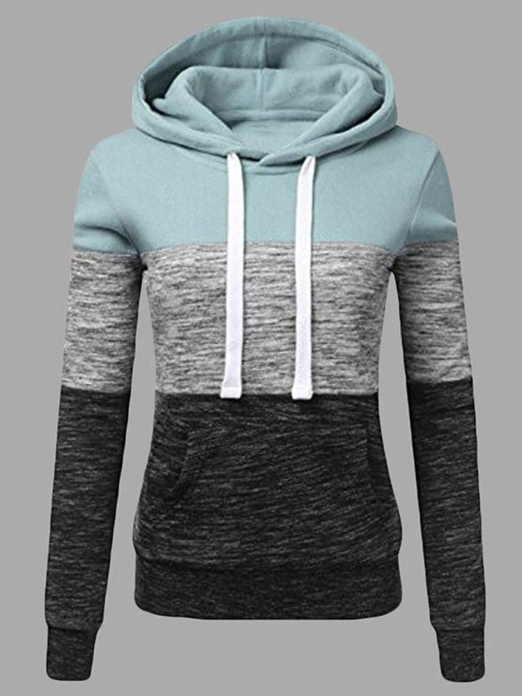 Color Block Patchwork Regular Hooded Mid-Length Hoodie