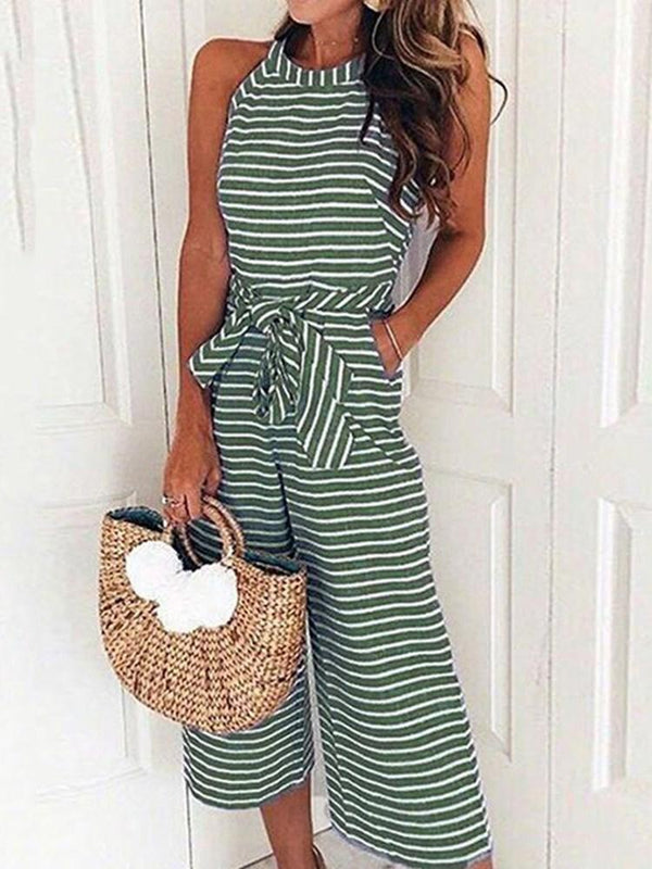Mid-Calf Lace-Up Stripe Wide Legs Slim Jumpsuit