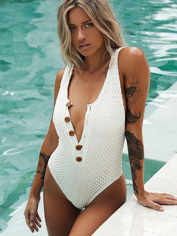 One Piece Button Plain Swimwear