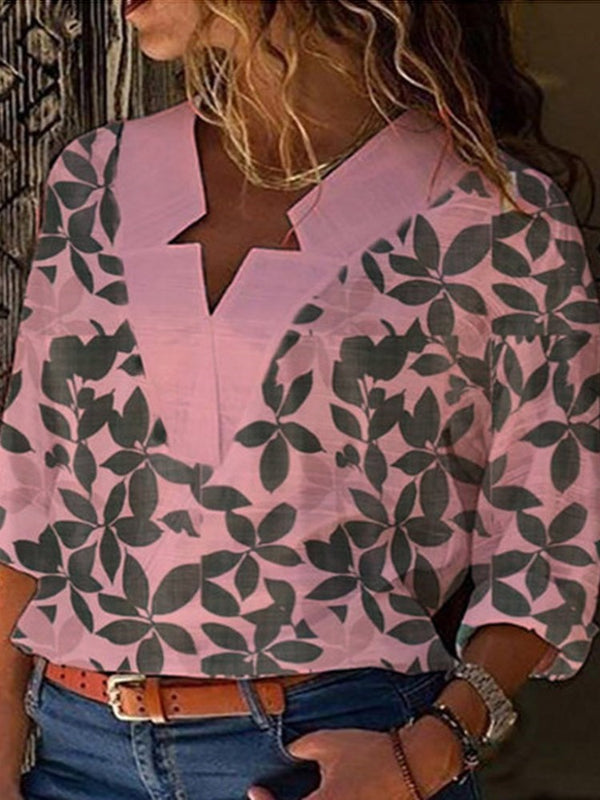 Print Three-Quarter Sleeve Mid-Length Blouse