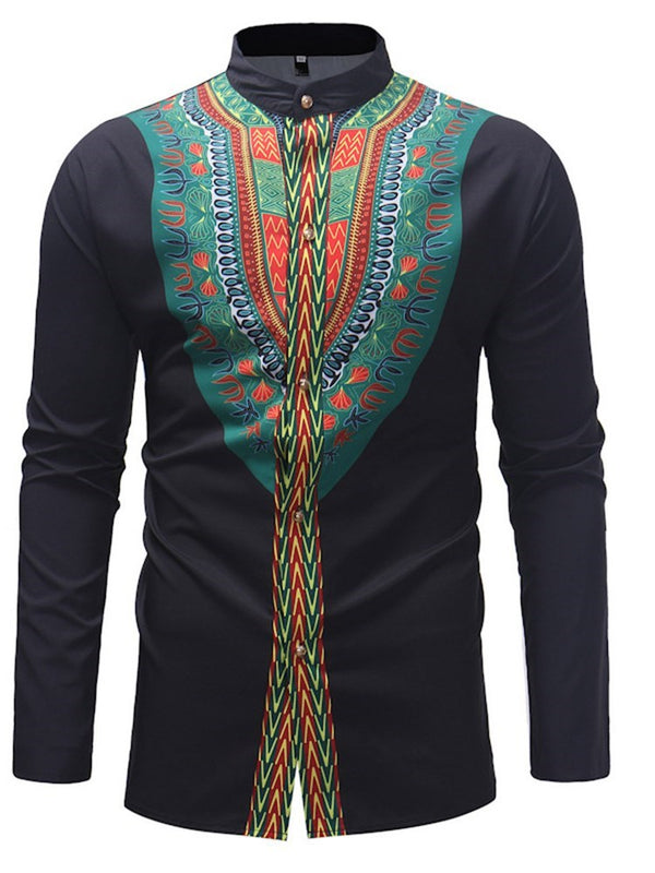 Imprimir Floral Stand Collar Slim Summer Shirt