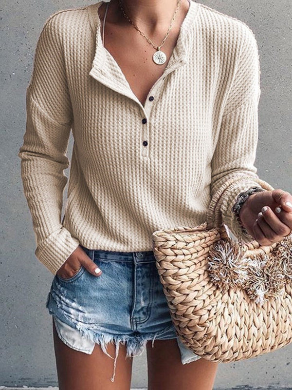 Button Slim Fall Sweater