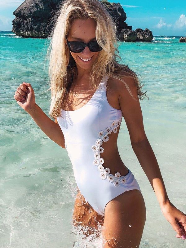 Traje de baño liso de One Piece Beach Look